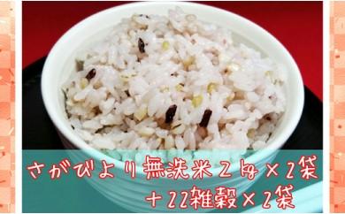 B170-O 巧味【無洗米】さがびより2kg×2袋・国産22雑穀ごはん540g×2袋