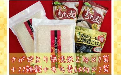 B169-O 巧味【無洗米】さがびより2kg×2袋・22雑穀ごはん540g・もち麦600g×2袋
