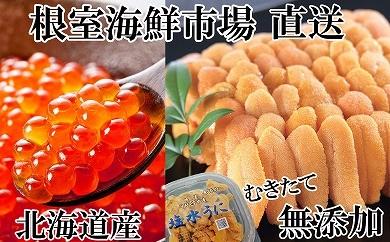 CA-14083 根室海鮮市場<直送>エゾバフンウニ塩水パック、いくら醤油漬[461841]