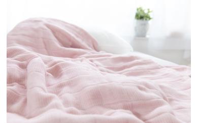 コーマ糸を使った綿100%4重ガーゼケット 色:ピンク