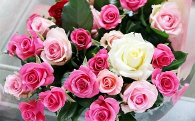 [№5672-0174]生産者直送 有機栽培で育った朝切りバラの花束