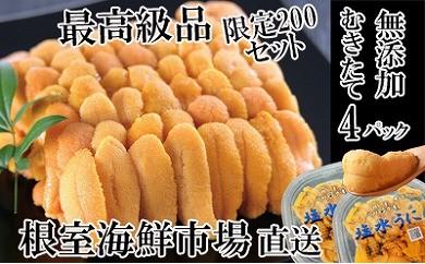 CD-22045 根室海鮮市場<直送>エゾバフンウニ塩水パック(黄系)70~80g×4P[461853]