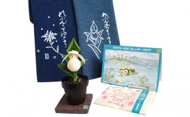 [№5901-0437]礼文エコグッズ(アツモリフィギア 花てぬぐい2枚 エコバッグ カレンダー)