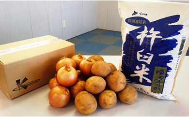 特別栽培「きなうす米」セットH(ななつぼし精米)じゃがいも・玉ねぎセット