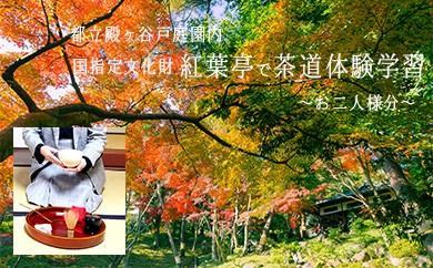 6-1 【ペアで】国指定名勝,東京の名湧水57選に選定された 都立殿ヶ谷戸庭園内の茶室(紅葉亭)で茶道体験学習