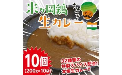 me046 ご当地カレー♪もっちり食感♪米ヶ岡鶏生カレー200g×10P 寄付額9,000円