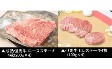 G-17【但馬牛】と【おかあさん但馬牛】のステーキ食べ比べセット(6月以降配送)