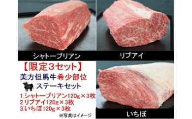 H-6【限定3セット】牧場直送!「美方但馬牛」の希少部位3種盛 ステーキセット