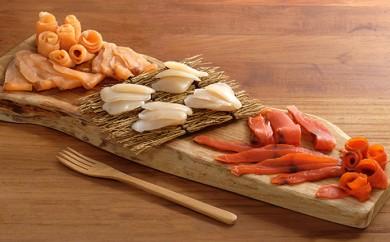 [№5834-0165]生ハム風味3種(ホタテ貝柱、紅鮭、サーモン)