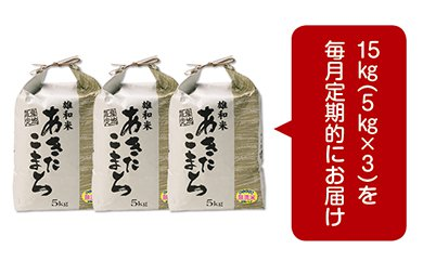 【頒布会】秋田市雄和産あきたこまち清流米(無洗米)1年分(15㎏×12か月)