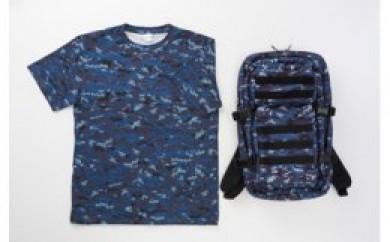 海上自衛隊デジタル迷彩アサルトバッグ+海デジ゛ドライタイプTシャツ(XLサイズ)