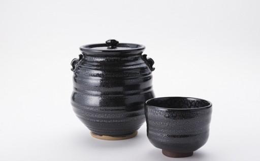 T2912-01 伝統工芸「新庄東山焼」油滴紋様・茶道セット