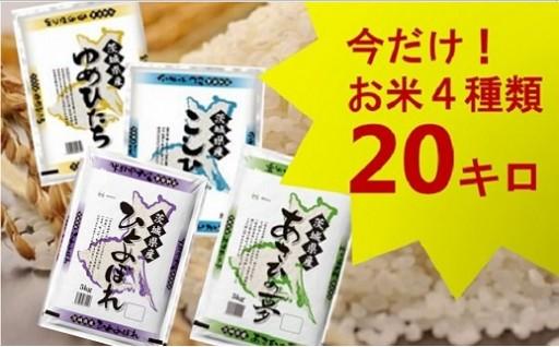 (576)【平成30年産】茨城県のお米4種食べくらべ20kgセット(道の駅さかいオリジナルセレクション)