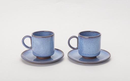 B2912-01 伝統工芸「新庄東山焼」 コーヒーカップ&お皿セット