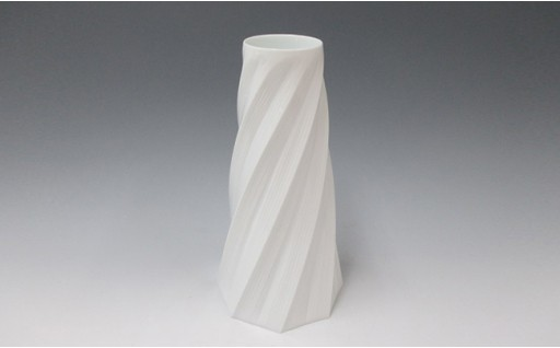 A500-13 中仙窯 白磁面取線彫花器(中尾純作)