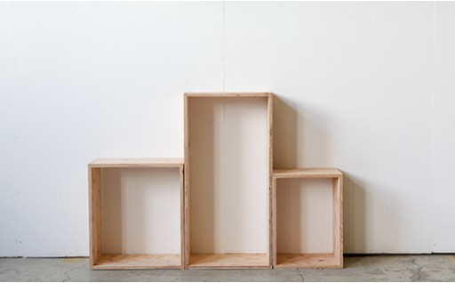 北海道育ちの木材を使った宮大工特製「キューブBOX」3点セット