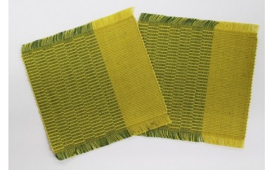 【K104】手織りコースター2枚セット【18pt】