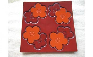 鎌倉彫7寸角皿(梅)
