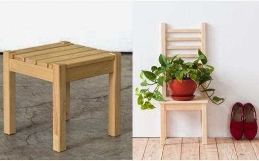 北海道育ちの木材を使った宮大工特製「花台」2種セット