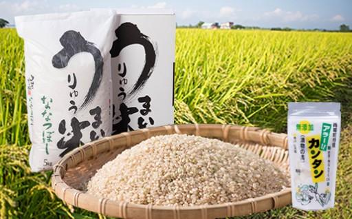 [A-08] うりゅう米ななつぼし玄米(5kg)1袋 アラー!!カンタン 2個 H29年度