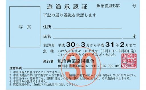 [№5762-0308]遊漁年券B渓流魚等(魚沼漁業協同組合の範囲内に限ります)