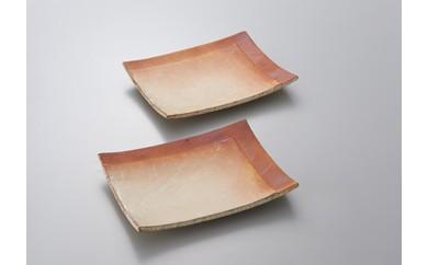 緋色長方角皿2枚(俊彦窯)