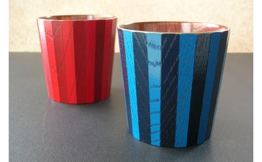 29-03-060.【漆工芸・黄薇彫】色漆・フリーカップ(24角)/赤・紺ペア