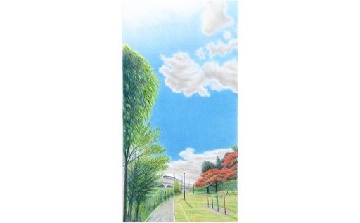 F014 色鉛筆アート絵画「たがさんぽ-空と小径と仙石線」とティータイムセット