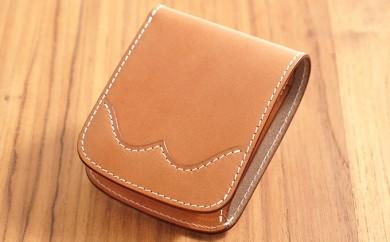 [№5641-0454]牛革ハーフウォレット(二つ折り財布)ナチュラル