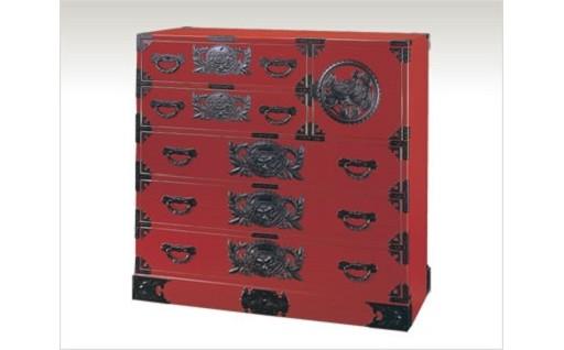 N022 仙台箪笥 三.五尺片開箪笥100 朱色漆塗り
