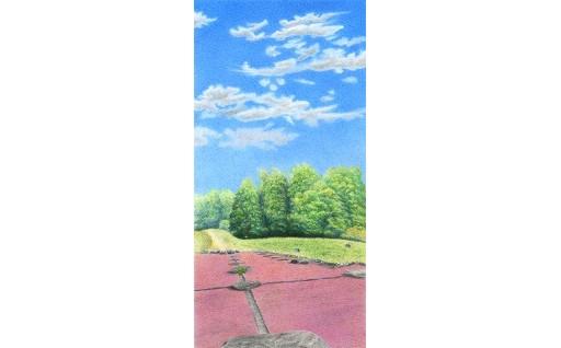 F012 色鉛筆アート絵画「特別史跡多賀城跡 政庁南門跡」とティータイムセット