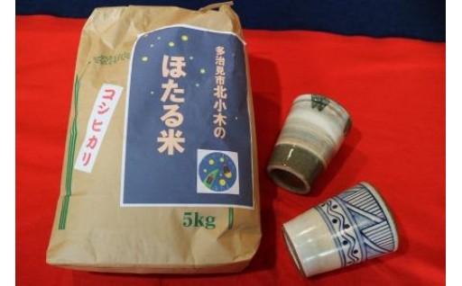 【美濃焼】フリーカップペアセットと北小木町の「ほたる米」