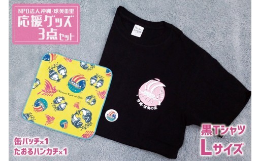 NPO法人沖縄・球美の里 応援グッズ3点セット(Tシャツ:黒Lサイズ)