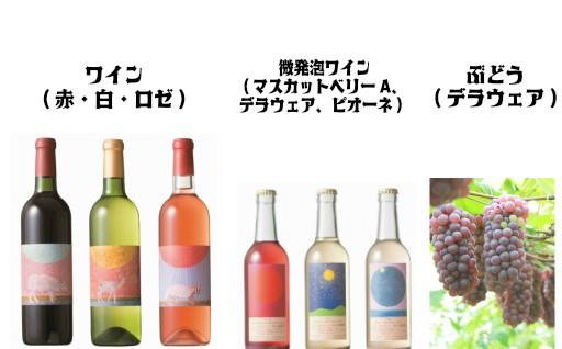 選べる「ワイン&微発砲ワイン」とぶどう(デラウェア2kg)セット