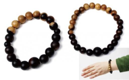 C340:黒柿 念珠ブレスレット2個セット(大玉・小玉)