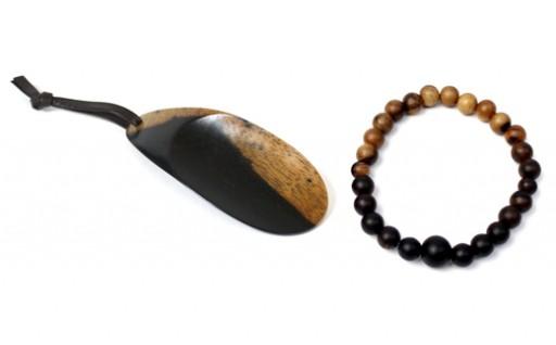 B254:黒柿 念珠ブレスレット(小玉)、携帯靴べらセット