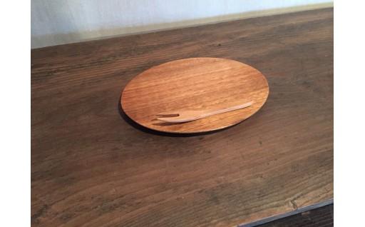 KK‐01 くるみのオーバルプレート皿と桜のフォークのセット