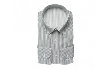 【三豊肌衣】ドレスシャツ ネイビー ボタンダウンLLサイズ