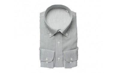 【三豊肌衣】ドレスシャツ ネイビー ボタンダウンSサイズ