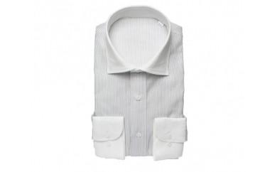 【三豊肌衣】ドレスシャツ グレー クレリックセミワイドLLサイズ