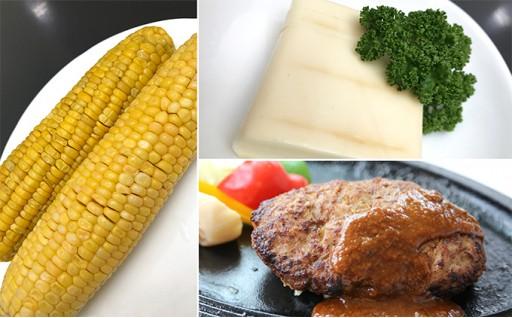 [№5525-0240]トンバーグ&燻煙チーズ&冷凍茹でとうきびセットC