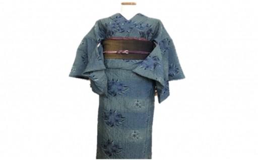 K-06 井原デニム着物刺繍ボーダー(レディス) Lサイズ
