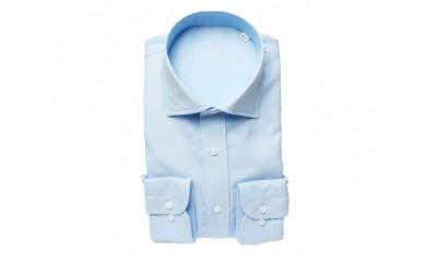【三豊肌衣】ドレスシャツ サックス セミワイドMサイズ