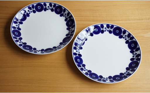 TA08 【BLOOM】ディナープレート(リース)2枚セット【白山陶器】