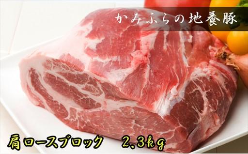 [№5543-0039]かみふらのポーク【地養豚】肩ロースブロック2.3kg