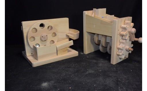 1-20 手作り木のおもちゃ「親子で作るビー玉からくり工作キット」
