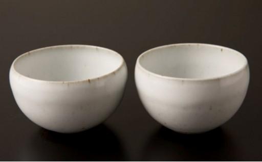 [№5805-2075]青龍窯 残雪釉湯呑茶碗2点セット