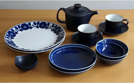 TA05 【2人分の食器セット】ホワイト&ブルー/モダンな食器11ピースセット【白山陶器】