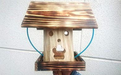[№5524-0102]野鳥の天然木くり抜き餌台(小)