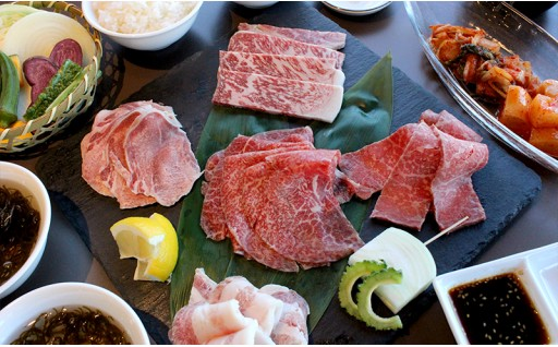 琉球焼肉NAKAMA 石垣牛&あぐー豚盛り合せプラン 2名様ご利用券